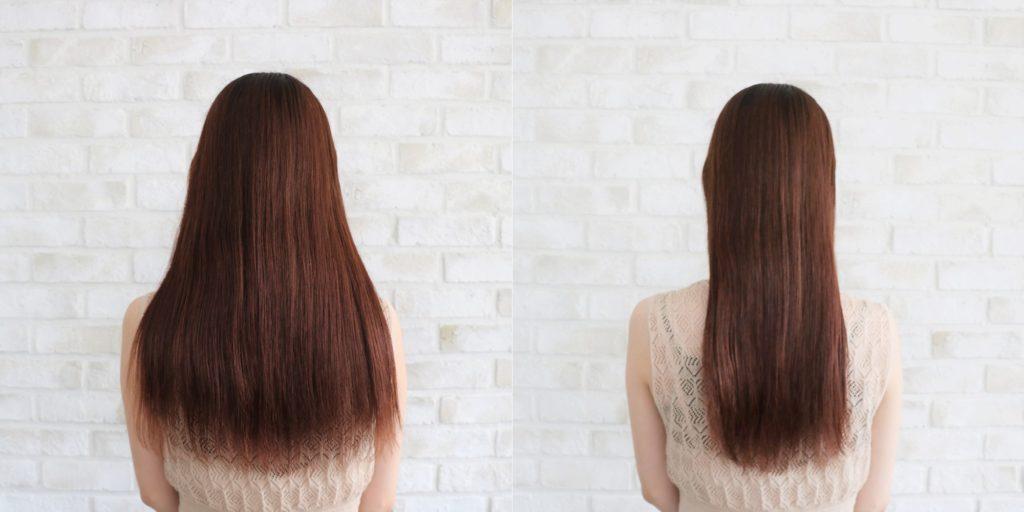 何もしていない状態(写真左)/髪を整えるだけでも紫外線に当たる面積は少なくなる!(右)